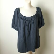 Ann Taylor LOFT Womens Size Large Gray  Gathered Trim Tee Shirt Top
