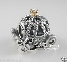 Disney CINDERELLA PUMPKIN CARRIAGE Genuine PANDORA  Silver/14K GOLD Charm~Bead