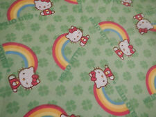 HELLO KITTY Rainbow Green Clover Girls Club FQ Cotton Fabric Craft Quilt