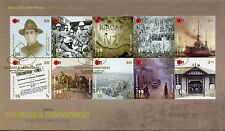 New Zealand 2016 FDC WWI 1916 Courage & Commitment 10v Block Cover World War I