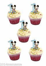 24 PRECUT MICKEY MOUSE 1ST BIRTHDAY STAND UP FAIRY CUPCAKE WAFER CARD TOPPERS