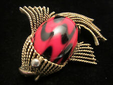 "Cool Rare Vtg 2"" Signed HAR Gold Tone Red Black Art Glass Fish Brooch Pin A69"