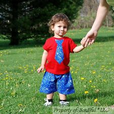 BonEful RTS NEW Boutique Baby 12 18 Month Boy Blue American Star Shorts Tie Top