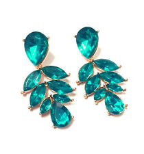 New Arrive Fashion Charm Crystal Leaf Water Drop Dangle Golden Earring Stud