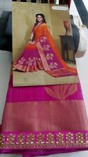 Party Wear Bollywood Designer Orange  SILK Embroidery Indian Bridal Saree