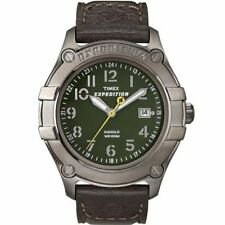 "Timex T49804, Men's ""Expedition"" Brown Leather Watch, Indiglo, Date,  T498049J"