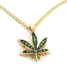 "14k Gold Plated Mini Marijuana Green CZ Stone Pendant 24"" Gucci Chain Necklace"