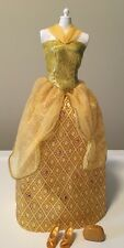 Barbie Doll Belle Evening Gown - Gold Metallic w/ Gems - Includes Shoes & Clutch