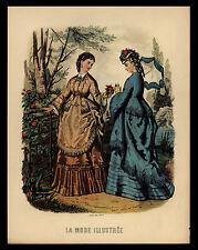 "VINTAGE ""LA MODE ILLUSTREE"" LEROY IMP PARIS-VICTORIAN LADIES ART PRINT"