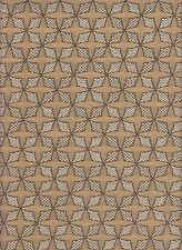 7 yds Pollack Upholstery Fabric Florasian Geometric Stencil Moonflower Tan BM9
