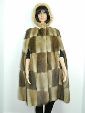 MUSKRAT FUR HOODED COAT CAPE  LYNX FUR TRIM One size