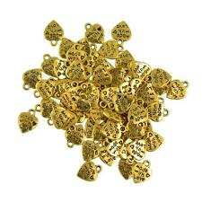 50 x Vintage Gold Made With Love Heart Charms Pendants Jewelry DIY Making