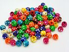 100 x 10mm Mix Round Wooden Flower Dot Beads Jewellery Kids Children Q59