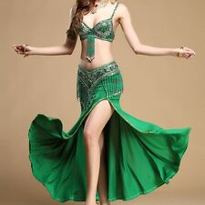 Belly Indian Dance Suit Costume Bra Top Belt Hip Scarf Skirts Wrap Carnival UK