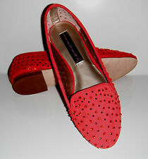 $139 New Steve Madden Karry Rhinestone Perforated Coral Suede Flat Shoes sz 8.5M