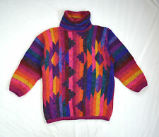 Vtg South Western Wool Cosby Rainbow Knit MARIEA KIM Slouch Cowl Neck Sweater L