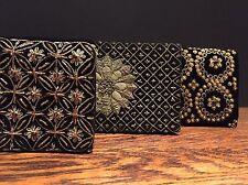 3 X Vintage Negro Terciopelo adornado indio bolsas de Embrague Bolso de mano boho Noche Bolso
