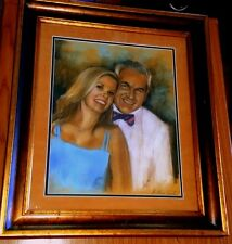 BEAUTIFUL ORIGINAL PORTRAIT OF GEORGE HAMILTON AND ALANA STEWART CHALK DRAWING