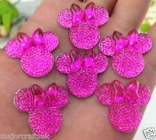 6pcs Pink 28mm Flat Back Mickey Minnie Mouse Head & Bow Resin Rhinestones Gems