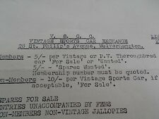 1955 Vintage Sports Car Club Limited Exchange Circular Cars Wanted & For Sale