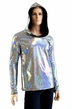 MEDIUM Mens Silver Holographic Long Sleeve Spandex Hoodie Ready To Ship!