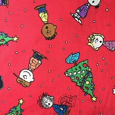 """Cotton Fabric 19""""x19""""(50x50cm) Remnant Christmas Tree Peanuts Red Green_36"""