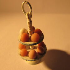 Artisan made metal doll house miniature hand painted eggs and egg stand 1:12