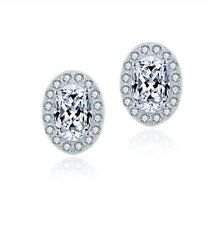 Micro Pave Halo Oval Stud Earring 925 Sterling Silver Gift !