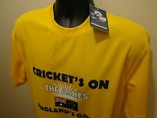 Official England Cricket On The Ashes Logo Adults T-Shirt 100% Polyester Yellow