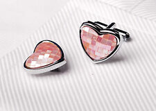 Pink Heart Checkered Love Designer Luxury Men Jewelry Box Cufflinks Cuff Links