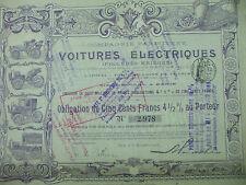 action compagnie parisienne voitures electriques krieger obligation  1906 500 fr