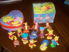 WINNIE THE POOH & THE GANG COLLECTIBLES CAKE TOPPERS TIN & STORAGE LOT