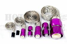 Braided Steel Hose Sleeving Kit Vacuum Line Fuel Line  Radiator Heater - Purple