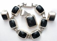 Mexican Sterling Silver Black Onyx Set Bracelet Earrings & Pendant Vintage 925