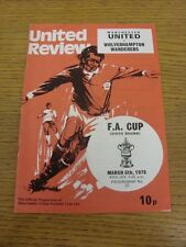 06/03/1976 Manchester United v Wolverhampton Wanderers [FA Cup] (rusty staple ma