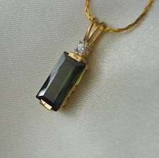 3.74ct Green Tourmaline Gold Pendant  & Chain
