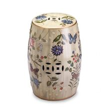 BUTTERFLY GARDEN CERAMIC STOOL Indoor Outdoor Patio Deck Accent Table