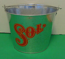 SOL BEER  DOUBLE SIDED 5QT. GALVANIZED ICE METAL BUCKET NEW