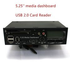 5.25'' Media Dashboard USB 2.0 12V/5V Power Supply  2 Fans Card Reader for PC