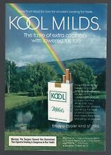 1972 KOOL MILDS CIGARETTE AD~RAINBOW OVER LAKE~MENTHOL TOBACCO SMOKES~POND