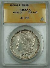 """1888-O Morgan Silver Dollar Coin $1 ANACS AU-55 """"OVAL O"""" """"Top 100"""""""