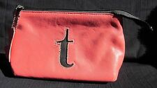 """KITSON"" Initialed Lower case '""t"" Genuine Leather Make Up Bag Peachy/Pink & blk"