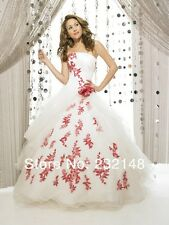 Red and White Embroidery Ball Bride Wedding Dresses Bridal Gown Custom Size