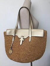 Michael Kors Straw Naomi Pale Gold Leather Large Tote Shoulder Bag NWT $298