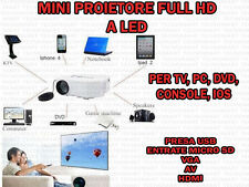 VIDEOPROIETTORE FULL HD LED PROIETTORE TV PC USB MICRO SD VGA AV HDMI SPEAKER