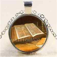 Christian Bible Photo Cabochon Glass Tibet Silver Chain Pendant Necklace