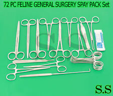 72 PC FELINE GENERAL SURGERY SPAY PACK VETERINARY SURGICAL INSTRUMENTS