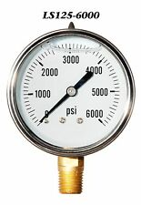 New Hydraulic Liquid Filled Pressure Gauge 0-6000 PSI