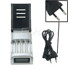 Hot EU Plug 4 Slots LCD Charger for AA /AAA NiCd NiMh Rechargeable Batteries