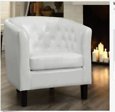 White Armchair Upholstered Club Chair Faux Leather Button Tufted Barrel Bonded